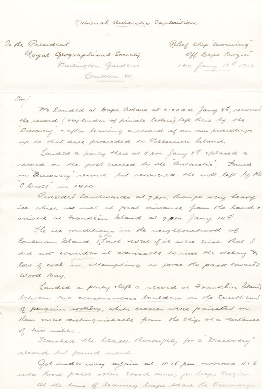 Letter from William Colbeck to Sir Clements Markham DUNIH 1.016