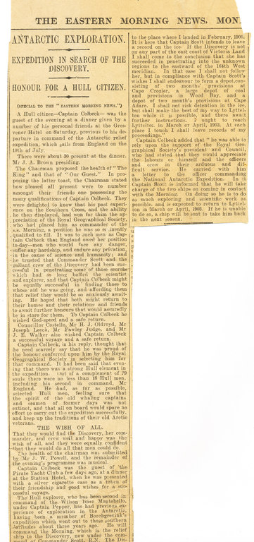 Newspaper cutting re. dinner held in Colbeck's honour DUNIH 1.042