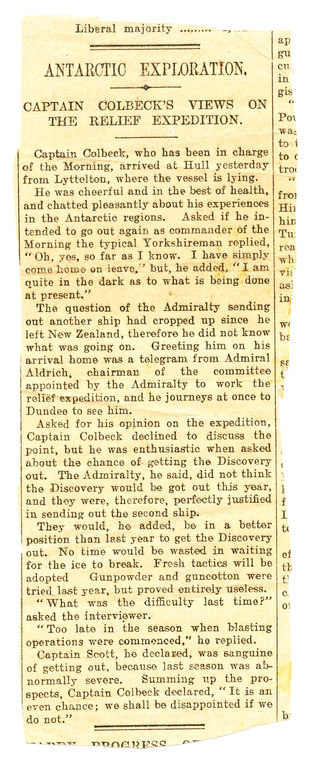 Newspaper cutting re. Colbeck's views on relief mission DUNIH 1.051