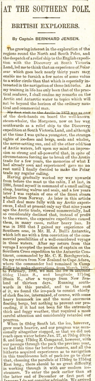 Newspaper cutting: 'At the South Pole- British explorers' DUNIH 1.054
