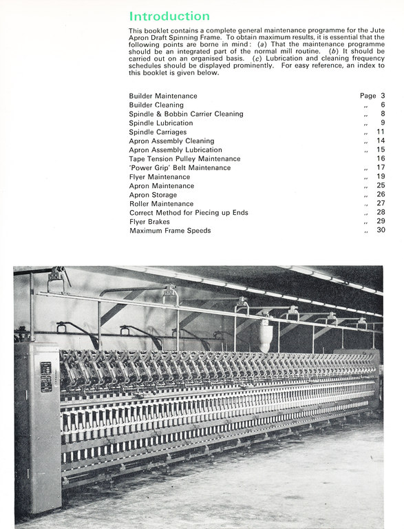 Apron Draft Jute Spinning Frame Booklet in Jute/spinning at Dundee ...