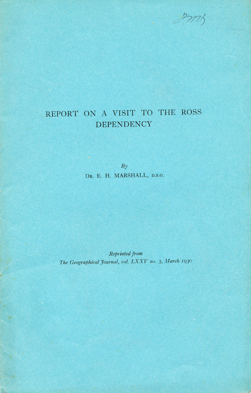 Report on a Visit to the Ross Dependency DUNIH 2008.59.3
