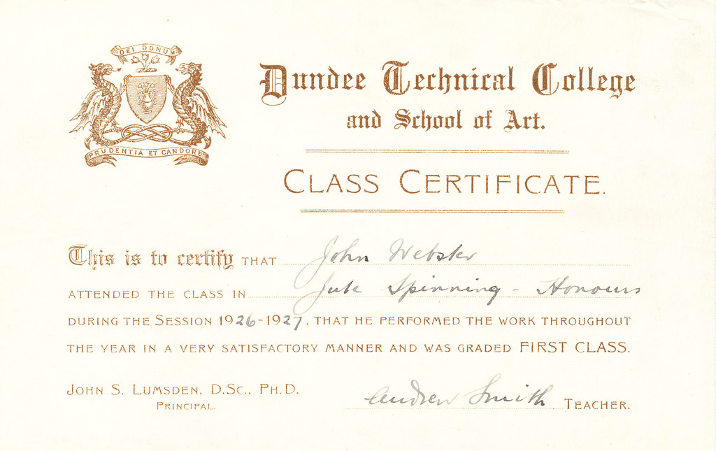 Jute Spinning Honours Certificate, John Webster DUNIH 268.2.9  First Class Honours