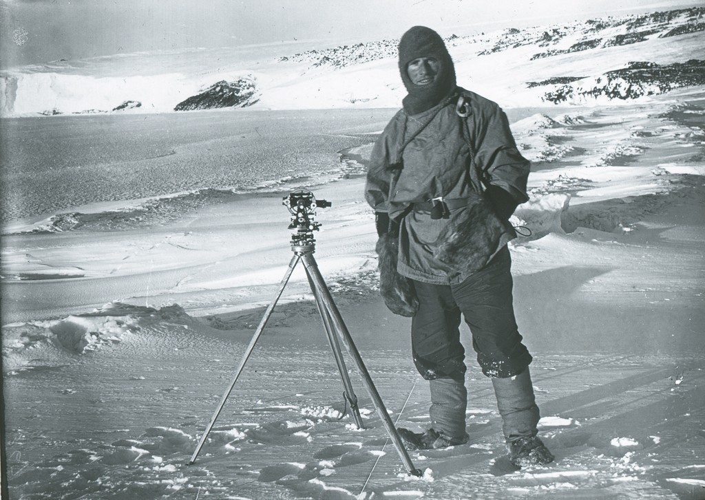 Lt. Edward Evans surveying with a theodolite ROY.30.1.40