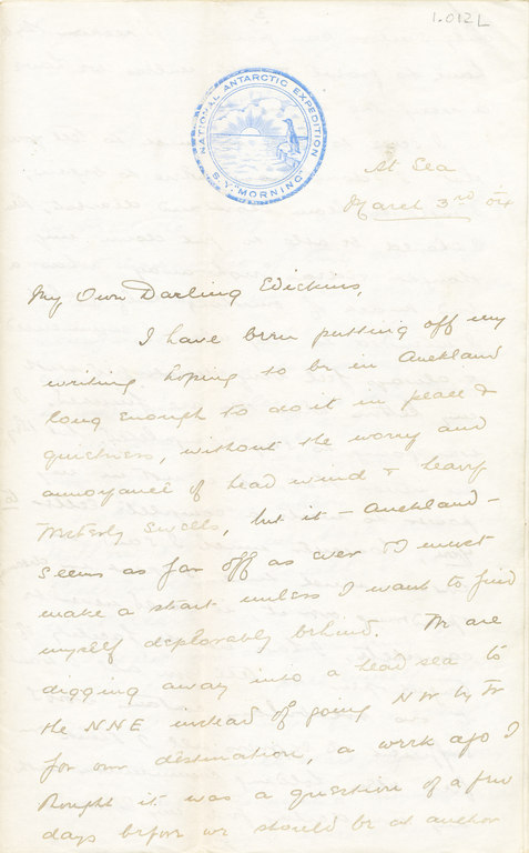 Letter from William Colbeck to Edith Robinson DUNIH 1.012