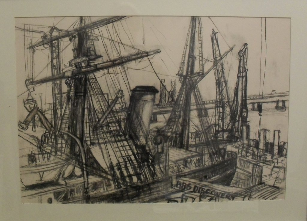 Charcoal Drawing of RRS Discovery by Allan Beveridge, 2015 DUNIH 2016.7.3