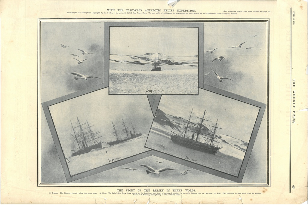 Newspaper cutting showing different images of the Antarctic expedition 1901-4 DUNIH 2016.30.45.7