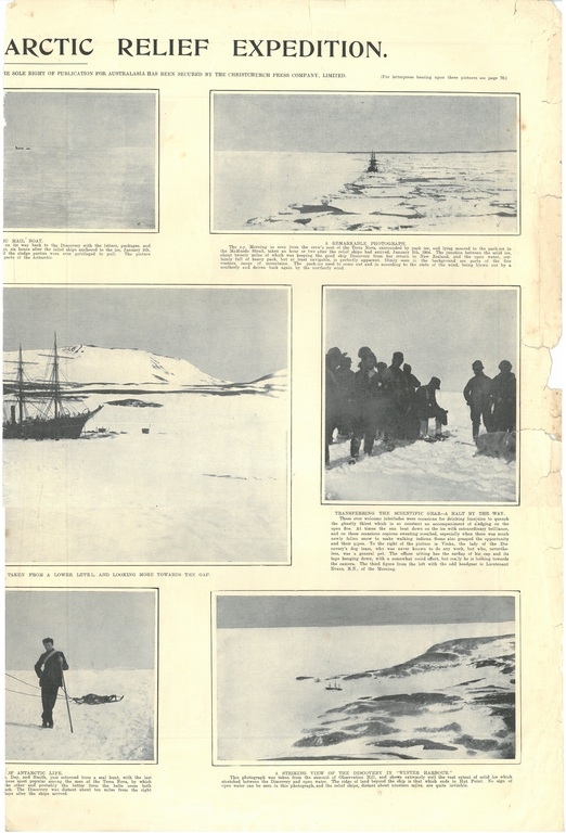 Newspaper cutting showing different images of the Antarctic expedition 1901-4 DUNIH 2016.30.45.8