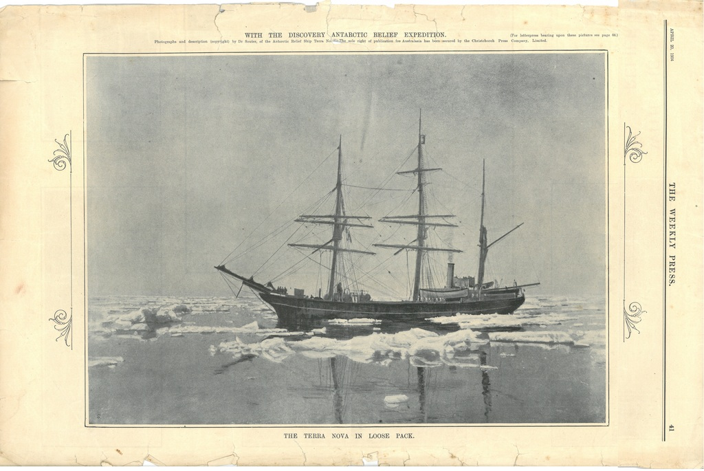 Newspaper cutting showing different images of the Antarctic expedition 1901-4 DUNIH 2016.30.45.12