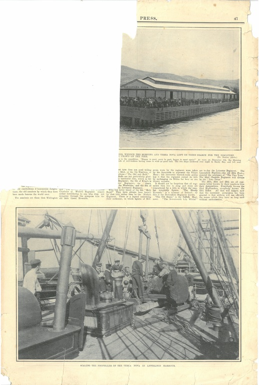 Newspaper cutting showing different images of the Antarctic expedition 1901-4 DUNIH 2016.30.45.15