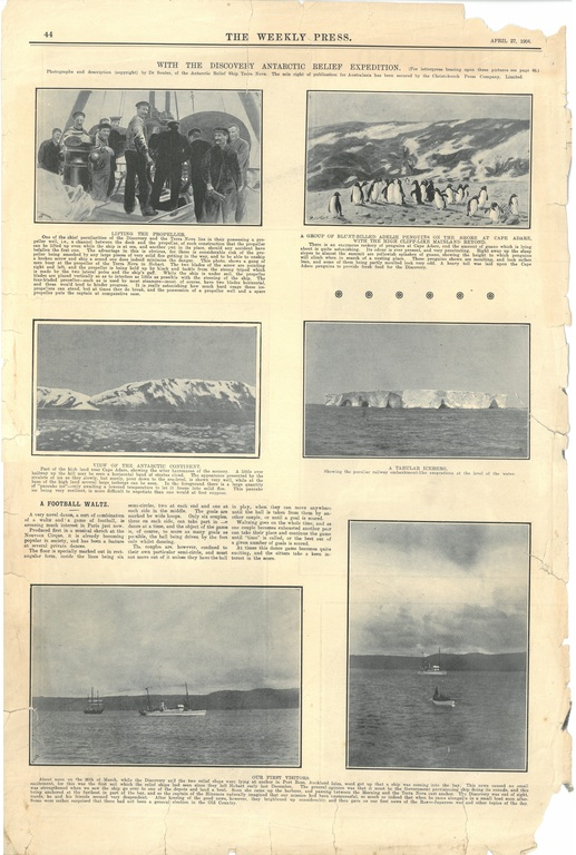 Newspaper cutting showing different images of the Antarctic expedition 1901-4 DUNIH 2016.30.45.16