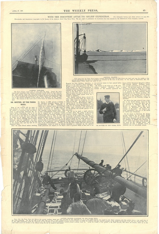Newspaper cutting showing different images of the Antarctic expedition 1901-4 DUNIH 2016.30.45.17