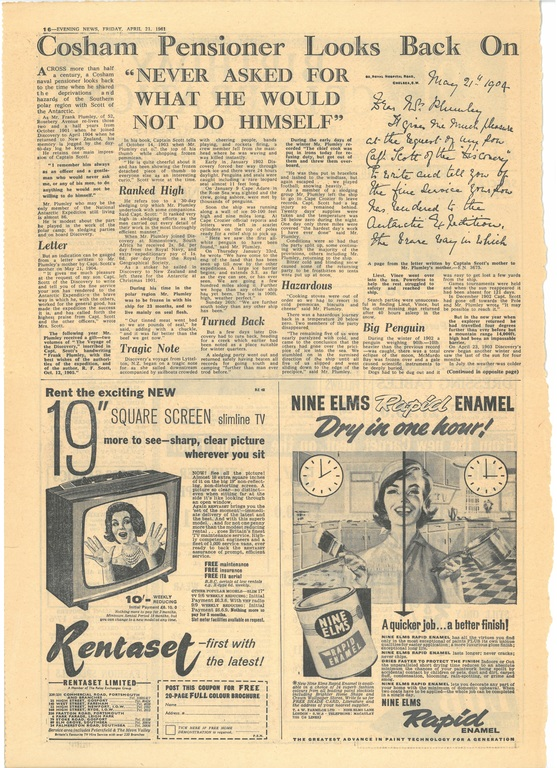 Newspaper cutting relating to Frank Plumley looking back at Captain Scott DUNIH 2016.30.46.1