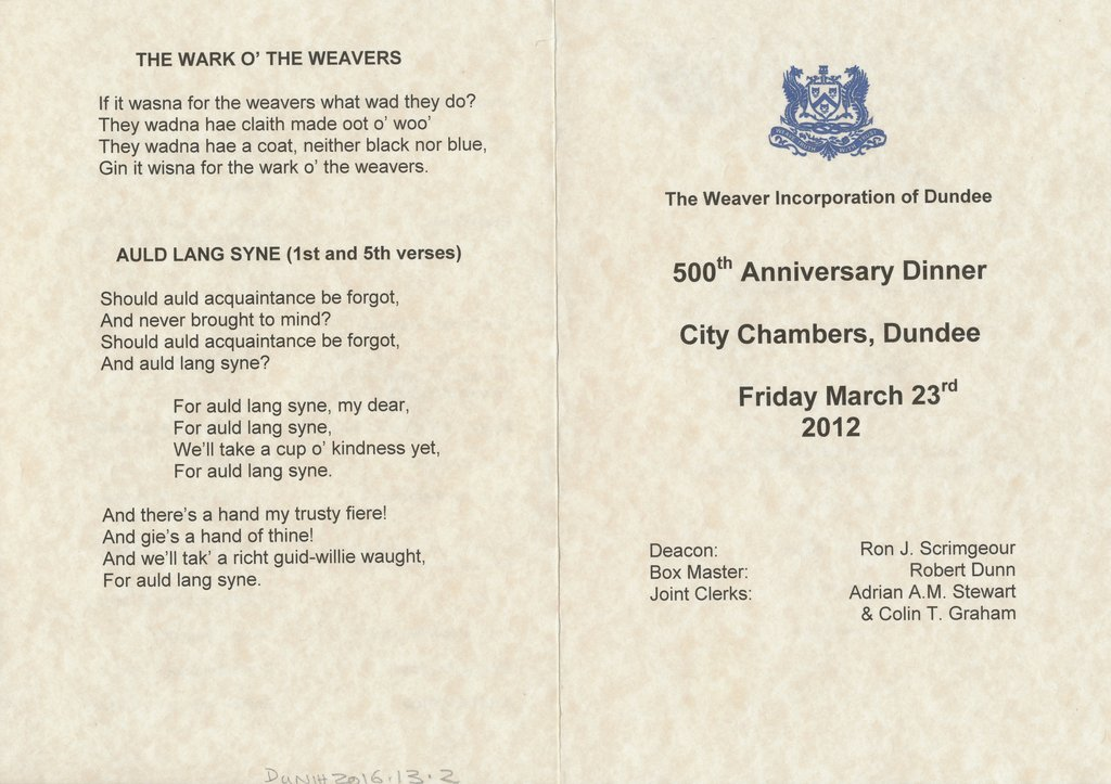 Menu Card, 500th Anniversary of the Dundee Weaver Craft DUNIH 2016.13.2