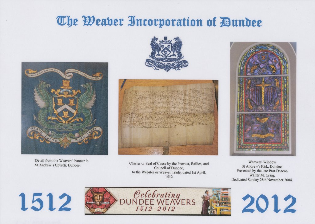 Placemat, 500th Anniversary of the Dundee Weaver Craft Dinner DUNIH 2016.13.3