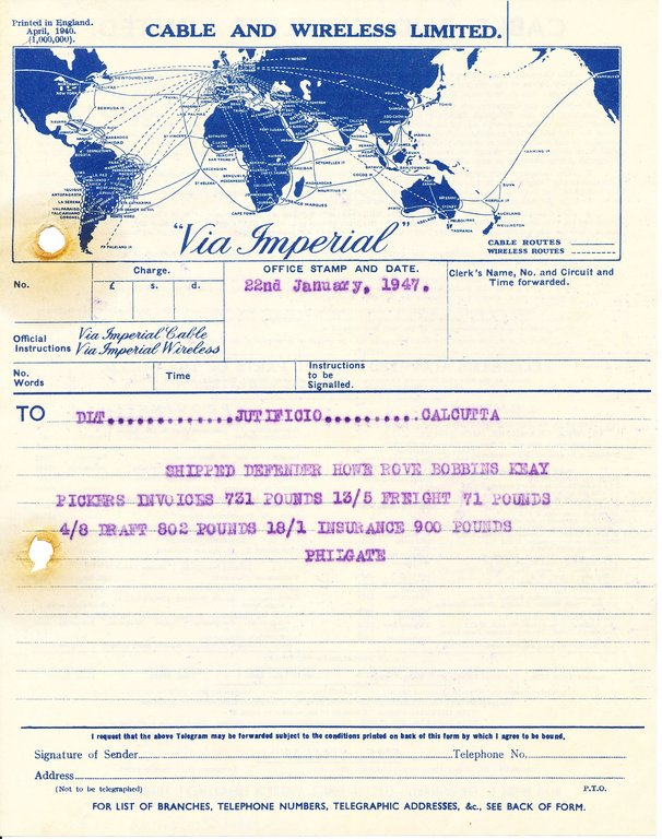 Telegram from Philgate to DLT Jutificio Calcutta, 22nd January 1947 DUNIH 2016.11.112