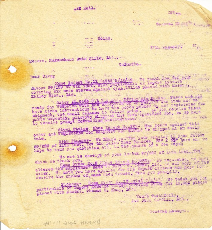 Letter from J. Cargill Ltd. to Hukumchand Jute Mills Ltd., 27th January 1947 DUNIH 2016.11.114