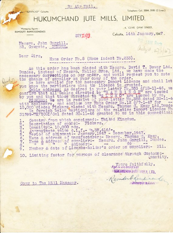 Letter from Hukumchand Jute Mills Ltd. to J. Cargill, 14th February 1947 DUNIH 2016.11.118