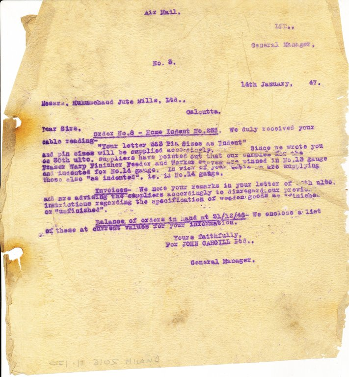Letter from J. Cargill Ltd. to Hukumchand Jute Mills Ltd., 14th January 1947 DUNIH 2016.11.120