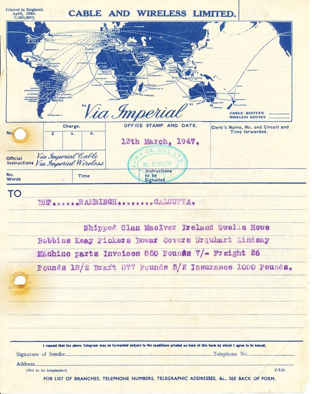 Telegram to DLT Rambingh Calcutta, 13th March 1947 DUNIH 2016.11.124