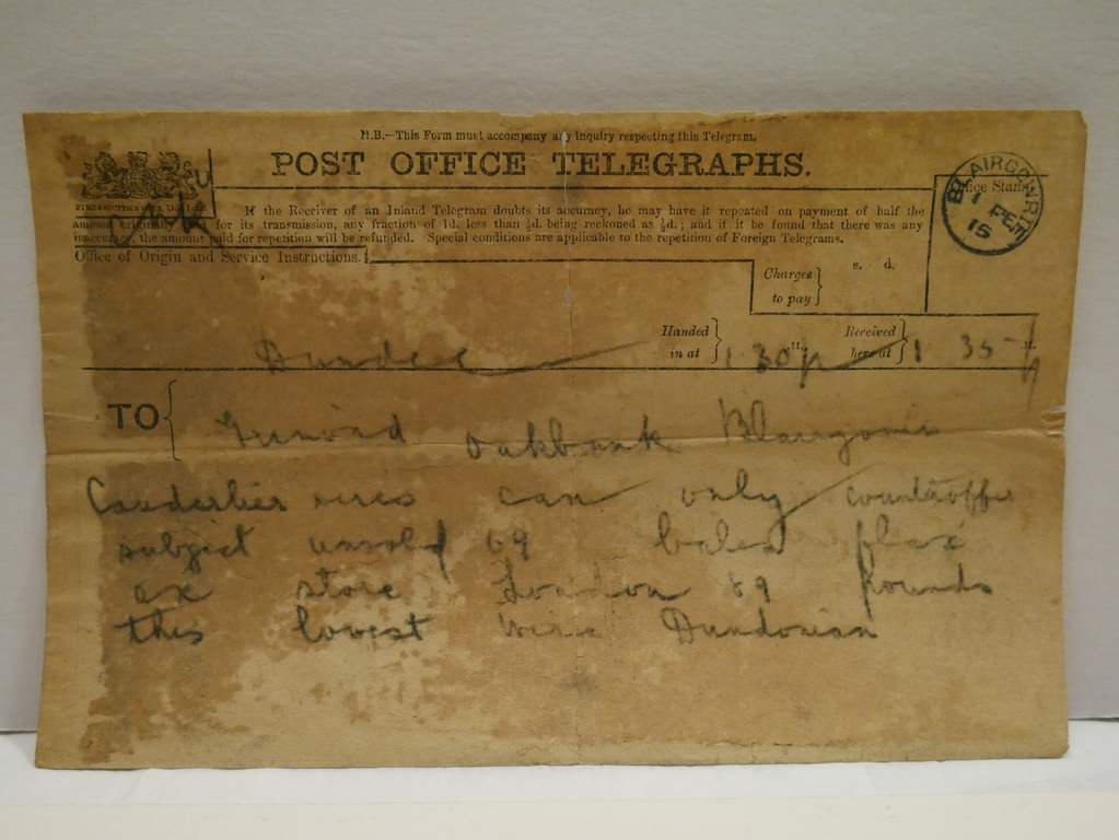Telegram from Berg & Son to Grimond, 1st February 1915 DUNIH 2017.1.14