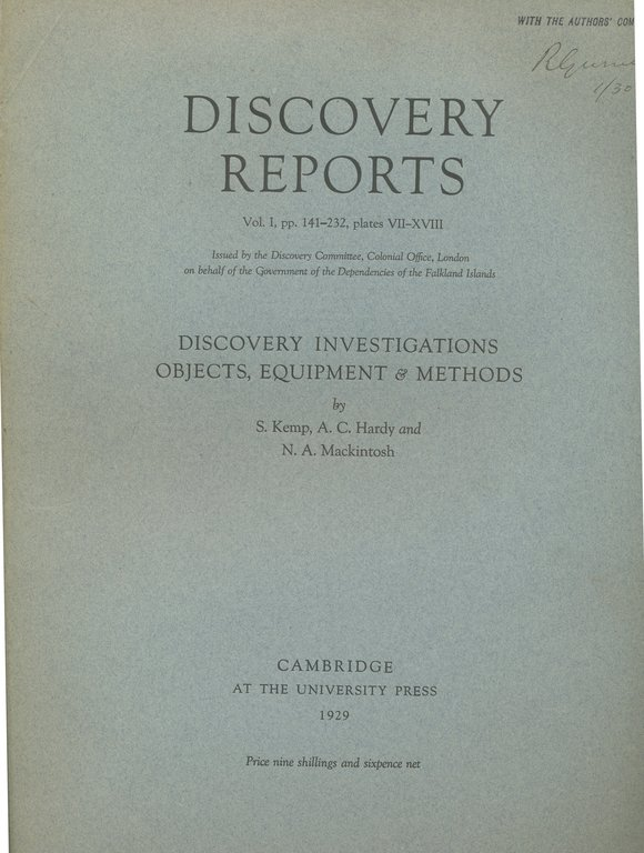 Discovery Report - Discovery Investigations, Objects, Equipment and Methods DUNIH 2017.2.60