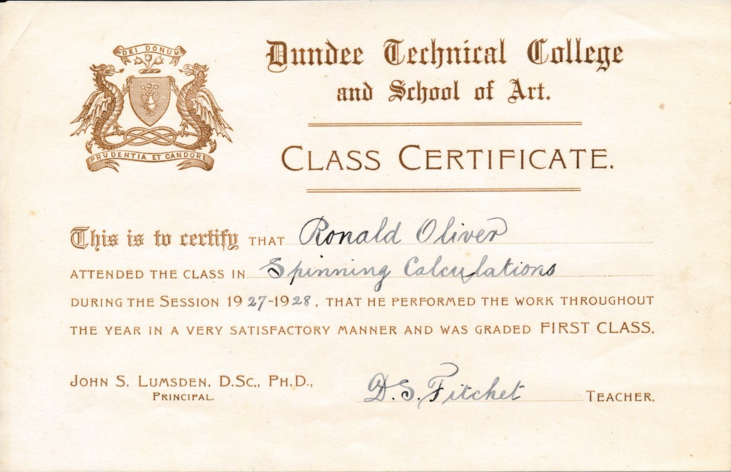 Spinning Calculations Certificate From Dundee Technical College In