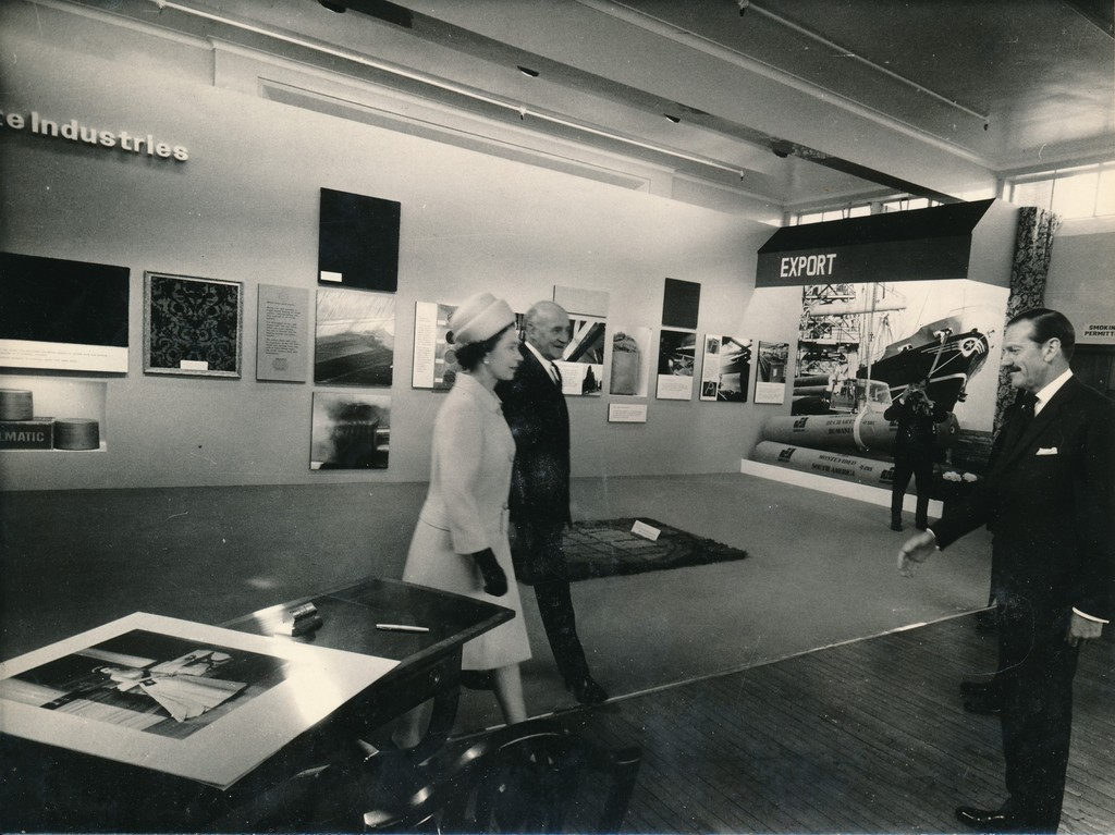 Photograph of the Queen at the exhibition of products, May 1969 DUNIH 2017.16.2.25