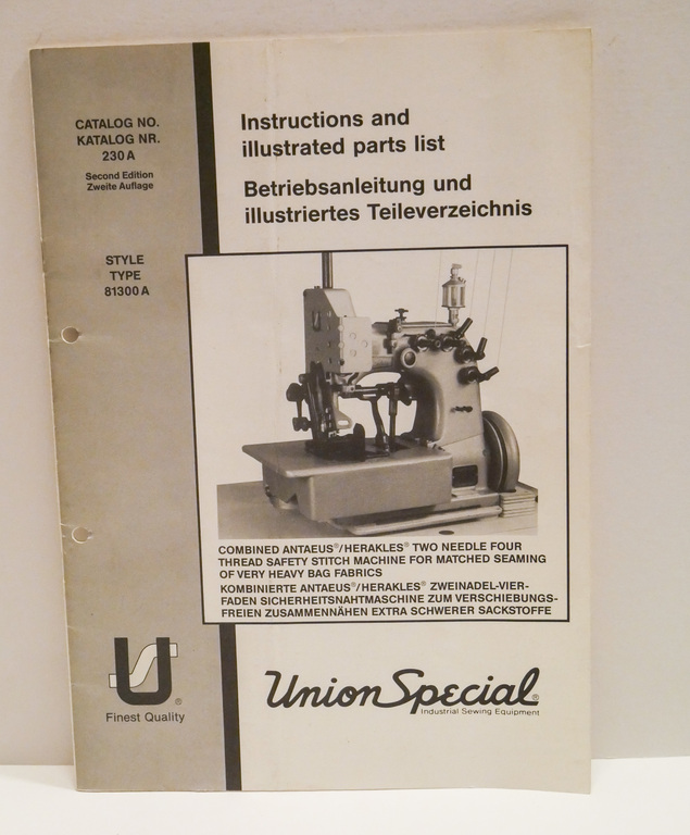 Union Special Instructions and Illustrated Parts List DUNIH 2017.17.4.1