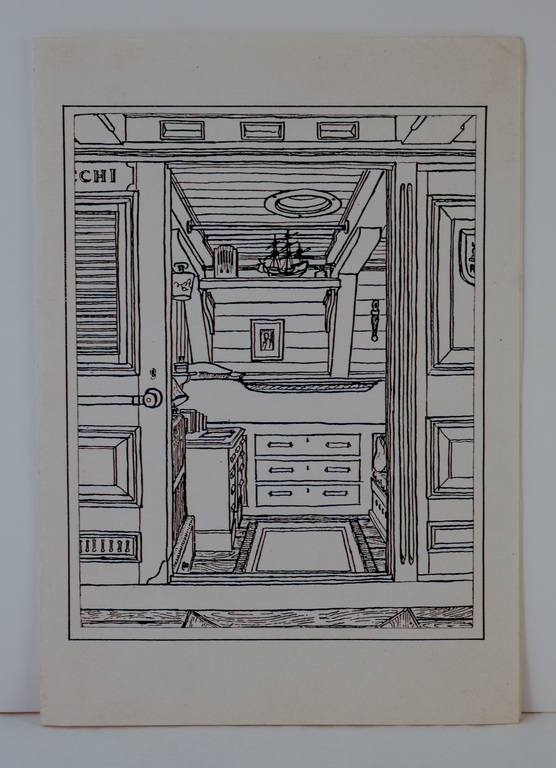 Christmas card featuring drawing of RRS Discovery's wardroom DUNIH 2018.18