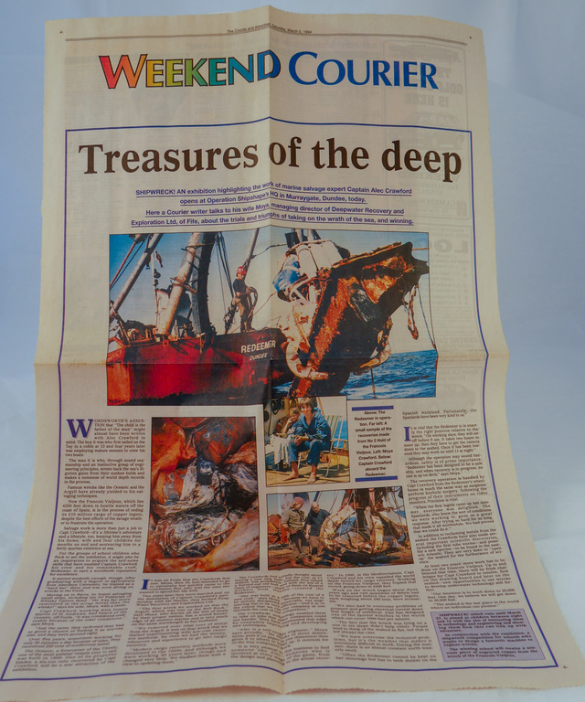Newspaper cutting re. deepwater recovery and exploration of Fife DUNIH 2018.20.5