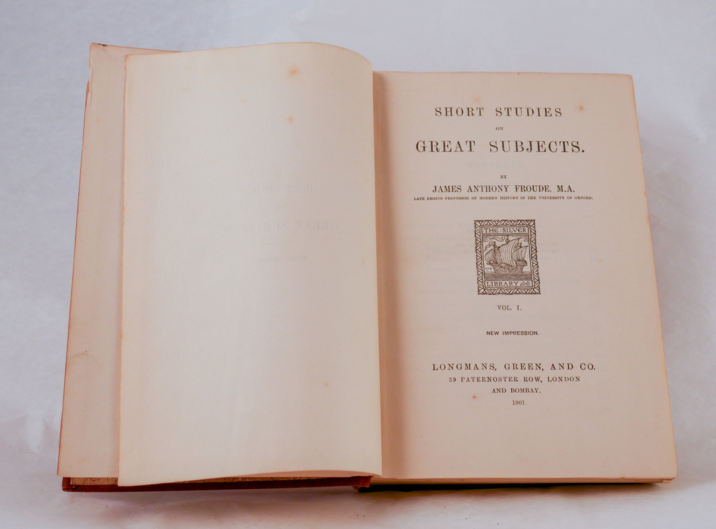 'Short Studies on Great Subjects, Vol I' - Book part of Discovery 1901-1904 library DUNIH 2018.24.11.1