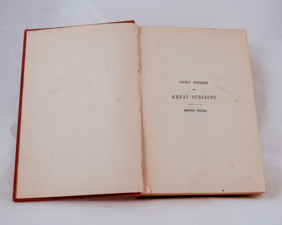 'Short Studies on Great Subjects, Vol II' - Book part of Discovery 1901-1904 library DUNIH 2018.24.11.2