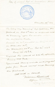 Image of Letter stating Morning's location after leaving Lyttelton DUNIH 1.017