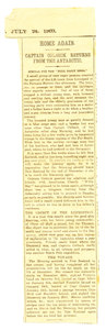 Image of Newspaper cutting re. Colbeck's return home DUNIH 1.050