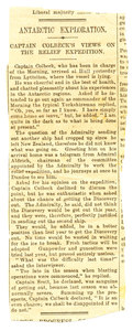 Image of Newspaper cutting re. Colbeck's views on relief mission DUNIH 1.051