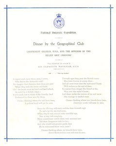 Image of Programme  from dinner held for the crew of the Morning DUNIH 1.062