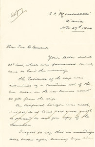 Image of Letter from Colbeck on S.S. Montebello DUNIH 1.067