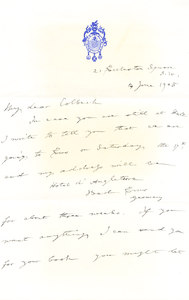 Image of Letter to Colbeck from Markham with temporary address DUNIH 1.086