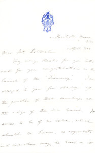 Image of Letter to Colbeck re. ice corner DUNIH 1.092