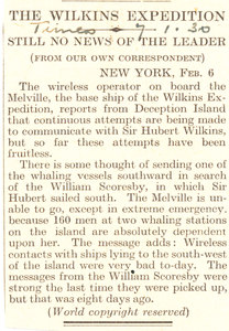 Image of Article re. brief disappearance of William Scoresby DUNIH 1.314