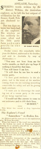 Image of Article re. letter sent by Wilkins incase of difficulties DUNIH 1.316