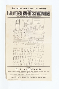 Image of List of Parts D.J. MacDonald Sewing Machines DUNIH 101