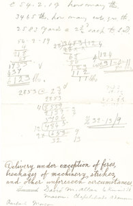 Image of Scrap paper containing notes and calculations DUNIH 106.12