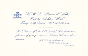 Image of Invitation re. Prince of Wales visit to Ashton Works DUNIH 113.10