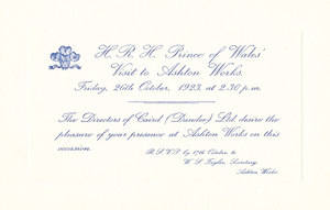 Image of Invitation re. Prince of Wales visit to Ashton Works DUNIH 113.11