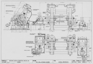 Image of ULRO + FLCB- Technical Drawing of Linoleum Calender DUNIH 2009.31.130