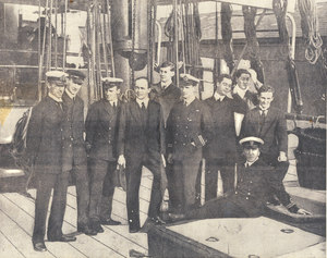 Image of Captain Scott and officers on deck Terra Nova. DUNIH 278.23