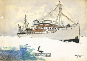 Image of Watercolour sketch of Discovery II by A Woodward, 4th March 1933 DUNIH 2016.6.2
