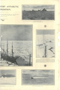 Newspaper cutting showing different images of the Antarctic expedition 1901-4 DUNIH 2016.30.45.13